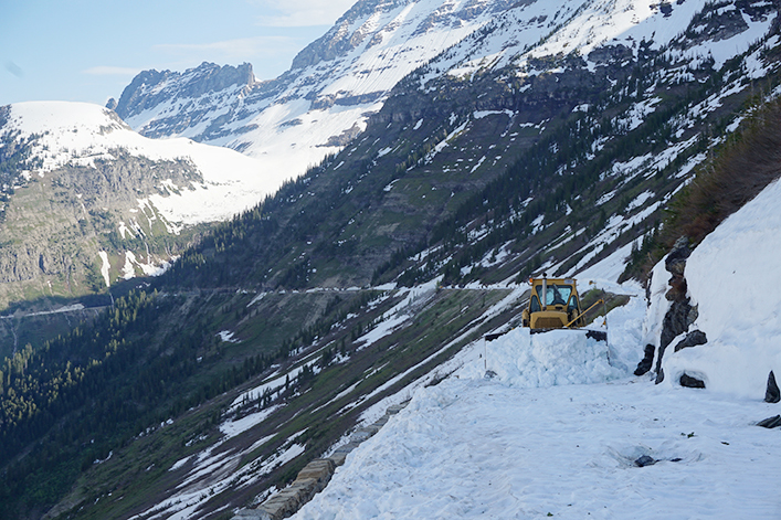 A Glacier National Park plow clearing snow on Going-to-the-Sun Road.