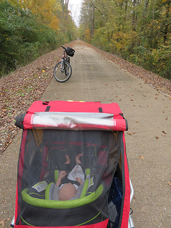baby on rail trail