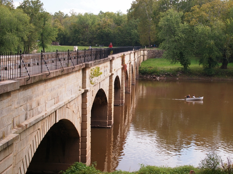 The group crosses the Monocacy Aqueduct