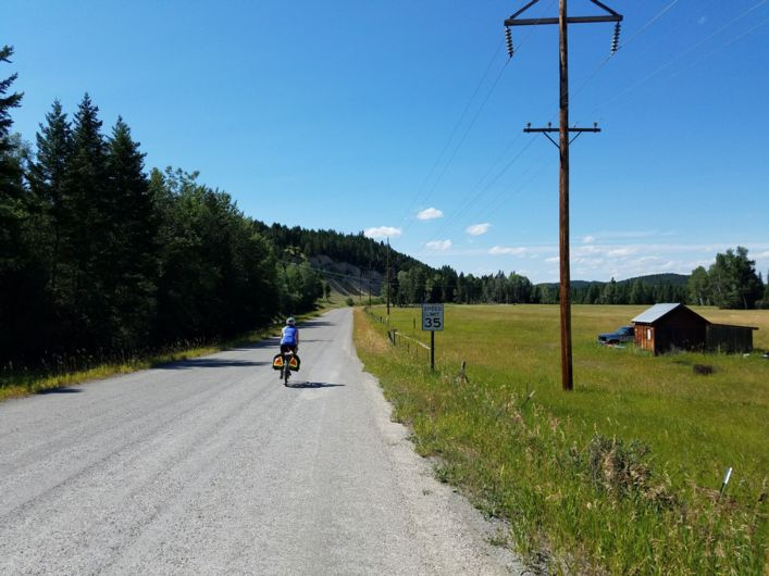My friend Lindsey cycling outside of Whitefish, Montana.