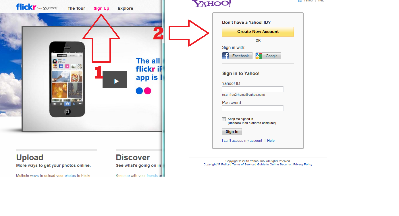 Register for a Flickr account screenshot