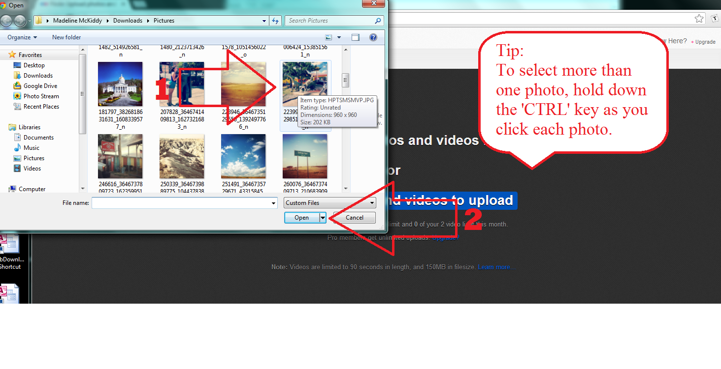 Add multiple photos at once screenshot