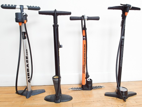A myriad of bicycle floor pumps