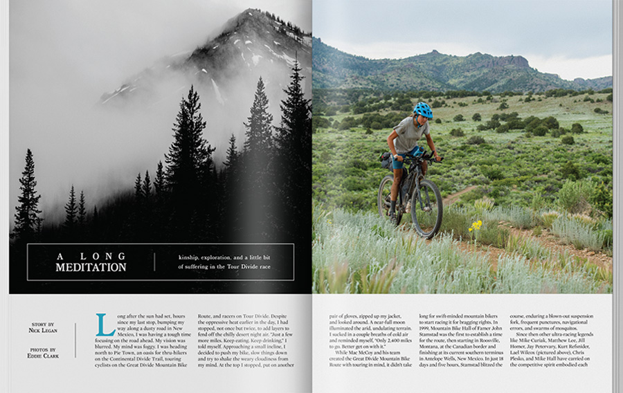 Adventure cyclist feature story spread
